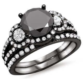 Noori 14k Black Gold 2 1/4ct Black and White Round Diamond Bridal Ring Set
