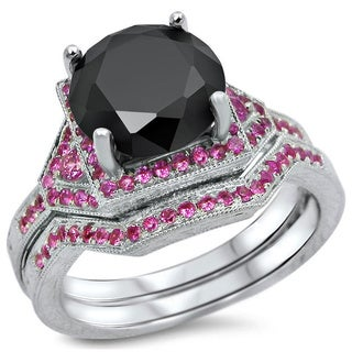 Noori 14k Black Gold 3 1/10ct Black Round Diamond Pink Sapphire Bridal Ring Set