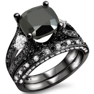 Noori 14k Black Gold 4 2/5ctw Black Cushion-cut Diamond Bridal Ring Set