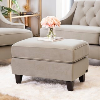 ABBYSON LIVING Claridge Beige Velvet Fabric Ottoman