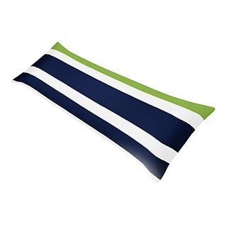 Blue/ Lime Green/ White Stripe Full Length Double Zippered Body Pillow Case Cover