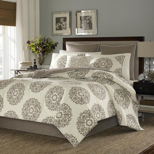 Stone Cottage Brown Medallion Pattern Sateen Cotton 3-Piece Duvet Cover Set
