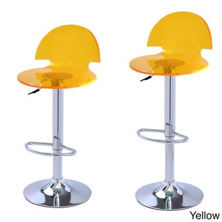 Adeco Transparent Hydraulic Lift Adjustable Barstool Chair (Set of 2)