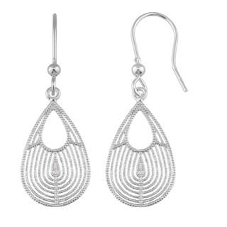 Fremada Sterling Silver Textured Teardrop Hook Earrings