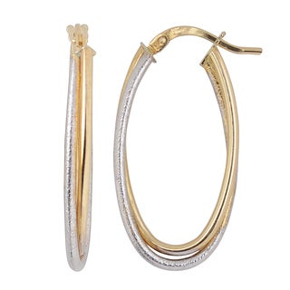 Fremada 10k Two-tone Gold High Polish and Textured Overlapping Elongated Earrings