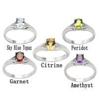 De Buman Sterling Silver Genuine Garnet, Peridot, Citrine, Amethyst or Sky Blue Topaz Gemstone with White Topaz Ring