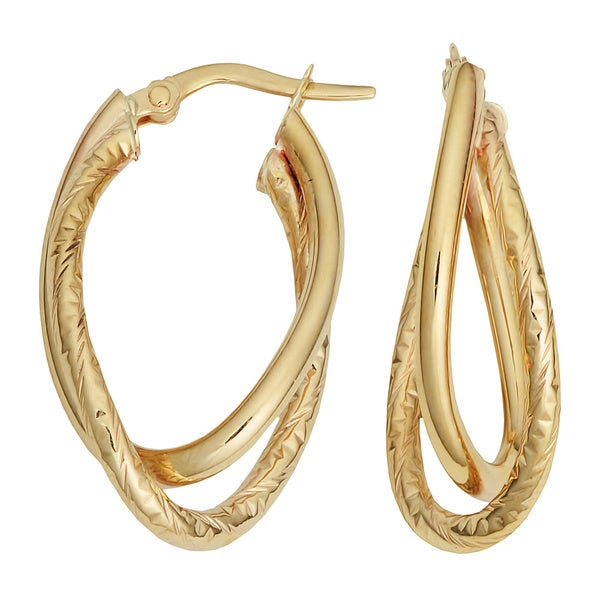 Fremada 10k Yellow Gold High Polish/ Diamond-cut Overlap Oval Hoop Earrings