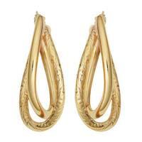 Fremada 10k Yellow Gold High Polish/ Diamond-cut Overlap Oval Hoop Earrings
