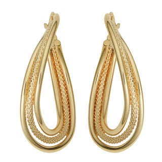 Fremada 10k Yellow Gold Overlapping Triple Oval Hoop Earrings