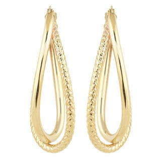 Fremada Women's 10k Yellow Gold High Polish/Diamond-cut Overlap Elongated Hoop Earrings