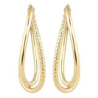 Fremada Women's 10k Yellow Gold High Polish/Diamond-cut Overlap Elongated Hoop Earrings
