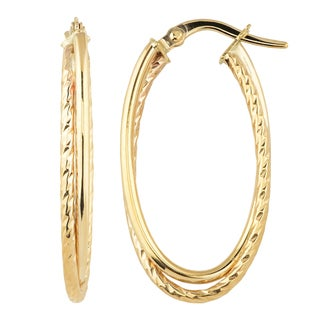 Fremada 10k Yellow Gold Overlapping Elongated Hoop Earrings