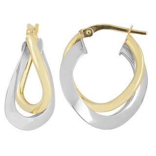 Fremada 10k Two-tone Gold High Polish Overlap Double Hoop Earrings