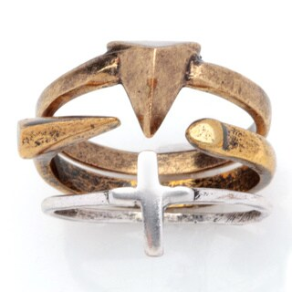 Two-tone Brass Antiqued Cross Ring