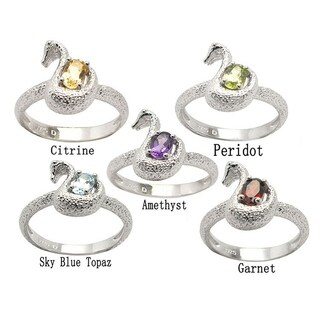 De Buman Sterling Silver Genuine Garnet, Peridot, Citrine, Amethyst or Sky Blue Topaz Gemstone Swan Ring