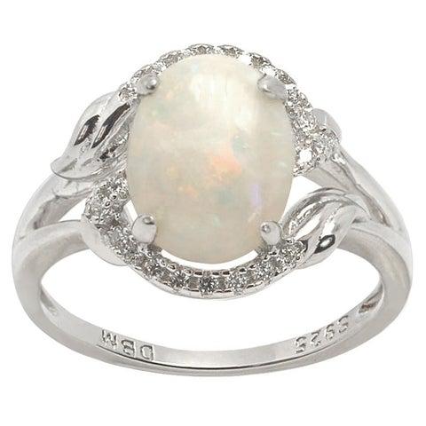 De Buman Sterling Silver 8 mm wide x 10 mm long Genuine Opal Ring
