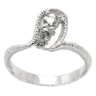 De Buman Genuine White Topaz Sterling Silver Ring