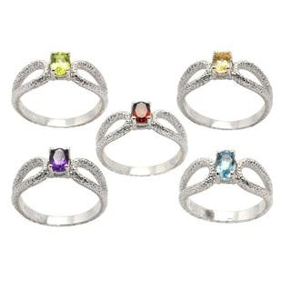 De Buman Sterling Silver Genuine Garnet, Peridot, Citrine, Amethyst or Sky Blue Topaz Gemstone Hammered Ring