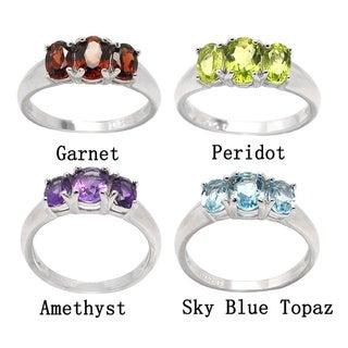 De Buman 925 Silver Genuine Garnet, Peridot, Amethyst or Sky Blue Topaz Gemstone Ring