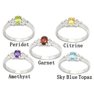 De Buman Genuine Garnet, Peridot, Citrine, Amethyst or Sky Blue Topaz Gemstone Sterling Silver Ring
