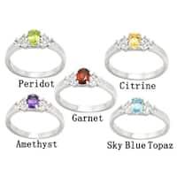 De Buman Genuine Garnet, Peridot, Citrine, Amethyst or Sky Blue Topaz Gemstone Sterling Silver Ring
