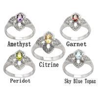 De Buman Sterling Silver Genuine Garnet, Peridot, Citrine, Amethyst or Sky Blue Topaz Gemstone Ring
