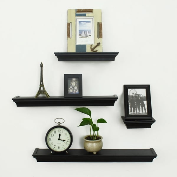 Adeco Black Wood 4-piece Wall Shelf Set