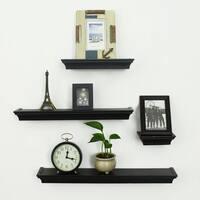 Adeco Black Wood 4-piece Wall Shelf Set
