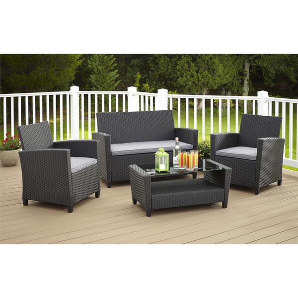 cosco outdoor malmo 4 piece resin wicker conversation set free