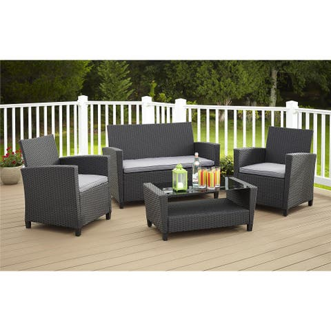 Avenue Greene 4 Piece Resin Wicker Deep Seating Patio Conversation Set