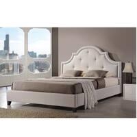 Gracewood Hollow Stiefvater Light Beige Linen Modern Platform Bed (King Size)