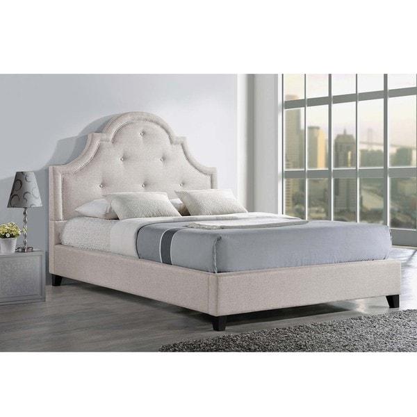 Baxton Sudio Hamlin Light Beige Linen Bed with Bench
