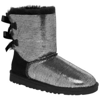 Ugg Australia Girl's Bailey Bow Lizard Black Boots