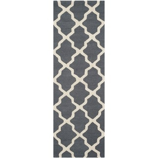 Safavieh Handmade Cambridge Dark Grey/ Ivory Wool Rug (2'6 x 12')
