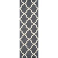 Safavieh Handmade Cambridge Dark Grey/ Ivory Wool Rug - 2'6 x 14'