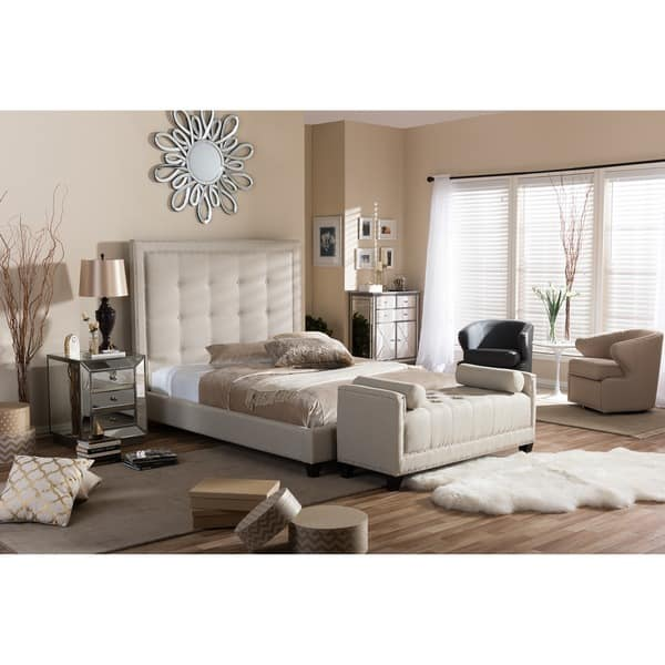 Shop Baxton Studio Hirst Light Beige Linen Bed With Bed Bench