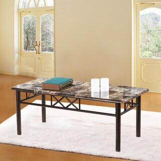 Adeco Coffee Table with Faux Marble Top