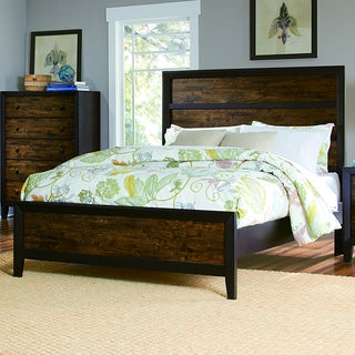 TRIBECCA HOME Draven Rustic Espresso Drifted Oak Wood Bed