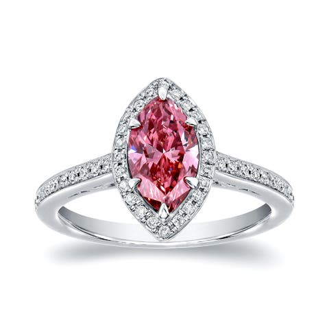 Auriya 18k Gold 1 1/3ctw Marquise-cut Halo Pink Diamond Engagement Ring