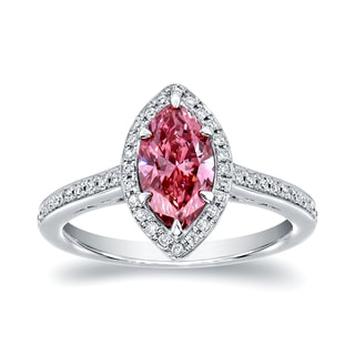 Auriya 18k White Gold 1 1/3ct TDW Marquise Halo Pink Diamond Engagement Ring