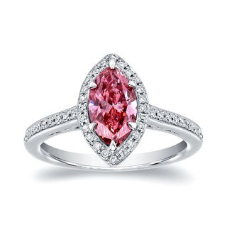Auriya 18k White Gold 1 1/3ct TDW Marquise Halo Pink Diamond Engagement Ring (SI1-SI2)
