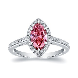 Auriya 18k White Gold 1 1/3ct TDW Pink Marquise Diamond Halo Engagement Ring