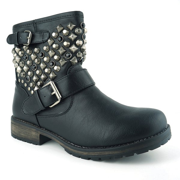 Wonderful Black Combat Boots Women With Studs Bamboo Spiked Studded Black Combat