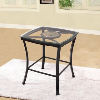 Adeco Glass and Black Metal End Table
