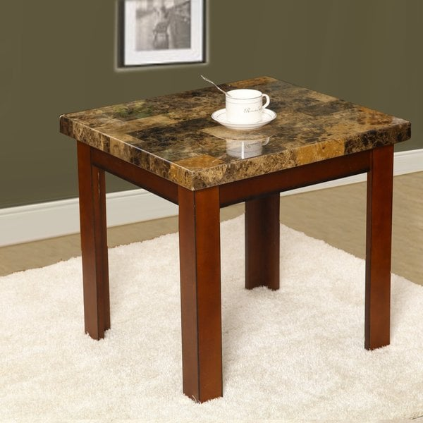 adeco wood faux marble finish rectangular side end table free shipping today. Black Bedroom Furniture Sets. Home Design Ideas