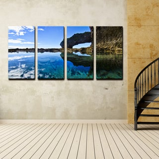 Ready2hangart Chris Doherty 'Aqua Rocks' 4-piece Canvas Wall Art