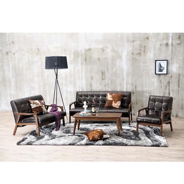 Baxton Studio Mid Century Masterpieces White Faux Leather: Baxton Studio Mid-Century Masterpieces 3PC Sofa Set In