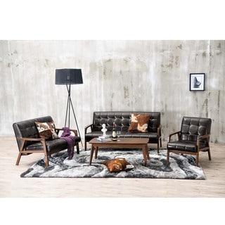 Baxton Studio Mid-Century Masterpieces 3PC Sofa Set in Brown