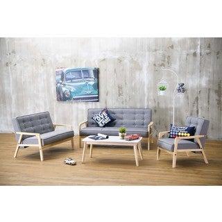 Baxton Studio Mid-Century Masterpieces 3PC Sofa Set in Gray Fabric