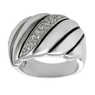 Silvertone Brass Cubic Zirconia Ring